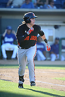 Ryder Jones (9) of the San Jose Giants runs to first base during a game against the Rancho Cucamonga Quakes at LoanMart Field on August 30, 2015 in Rancho Cucamonga, California. Rancho Cucamonga defeated San Jose, 8-3. (Larry Goren/Four Seam Images)