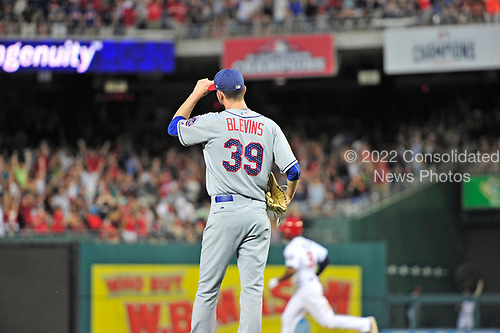 New York Mets relief pitcher Jerry Blevins (39) looks towards right field where Washington Nationals center fielder Michael Taylor's home run landed in the eighth inning at Nationals Park in Washington, D.C. on Monday, July 3, 2017.  The Nationals won the game 3 - 2.<br /> Credit: Ron Sachs / CNP<br /> (RESTRICTION: NO New York or New Jersey Newspapers or newspapers within a 75 mile radius of New York City)