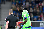 01.12.2018, wirsol Rhein-Neckar-Arena, Sinsheim, GER, 1 FBL, TSG 1899 Hoffenheim vs FC Schalke 04, <br /> <br /> DFL REGULATIONS PROHIBIT ANY USE OF PHOTOGRAPHS AS IMAGE SEQUENCES AND/OR QUASI-VIDEO.<br /> <br /> im Bild: Salif Sane (FC Schalke 04 #26) mit Schiedsrichter Dr. Robert Kampka<br /> <br /> Foto &copy; nordphoto / Fabisch