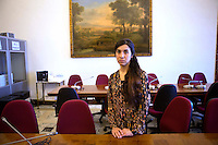 L'attivista Yazidi Nadia Murad, ritratta in occasione della sua audizione al comitato dei diritti umani presso la Commissione Esteri della Camera dei Deputati, Roma, 5 maggio 2016.<br /> Yazidi activist Nadia Murad portrayed on the occasion of her audition at the Human Right's committee of the Italian Lower Chamber's Foreign Commission in Rome, 5 May 2016.<br /> UPDATE IMAGES PRESS/Riccardo De Luca