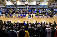 The teams sing the NZ national anthem before the 2019 Schick AA Boys' Secondary Schools Basketball National Championship final between St Kentigern and Rosmini College at the Central Energy Trust Arena in Palmerston North, New Zealand on Saturday, 5 October 2019. Photo: Dave Lintott / lintottphoto.co.nz