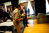 United States Secretary of Defense Leon Panetta and Field Marshal Hussein Tantawi enjoy an impromptu game of bowling while passing through a hotel's gallery in Cairo, Egypt, October 4, 2011. .Mandatory Credit: Jacob N. Bailey / USAF via CNP