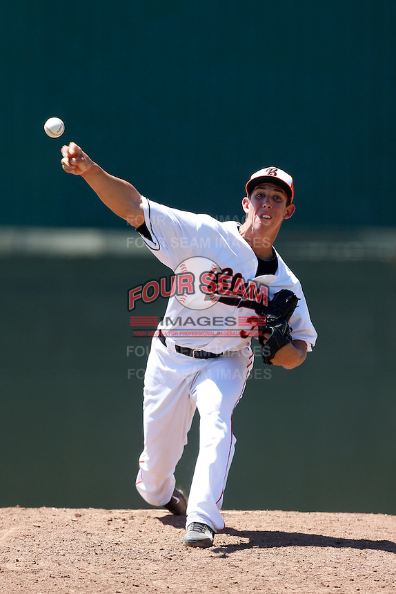 Michael Lorenzen #33 of the Bakersfield Blaze pitches against the San Jose Giants at Sam Lynn Ballpark on August 4, 2013 in Bakersfield, California. San Jose defeated Bakersfield, 7-4. (Larry Goren/Four Seam Images)