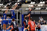 GRONINGEN - Volleybal, Lycurgus - RECO ZVH, halve finale beker, seizoen 2019-2020, 15-1-2020,  blok met Lycurgus speler Mitch Perinar