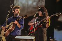 Louis-Jean Cormier and Lisa Leblanc perform during a concert at the Festival d'ete de Quebec in Quebec City Monday July 7, 2014.