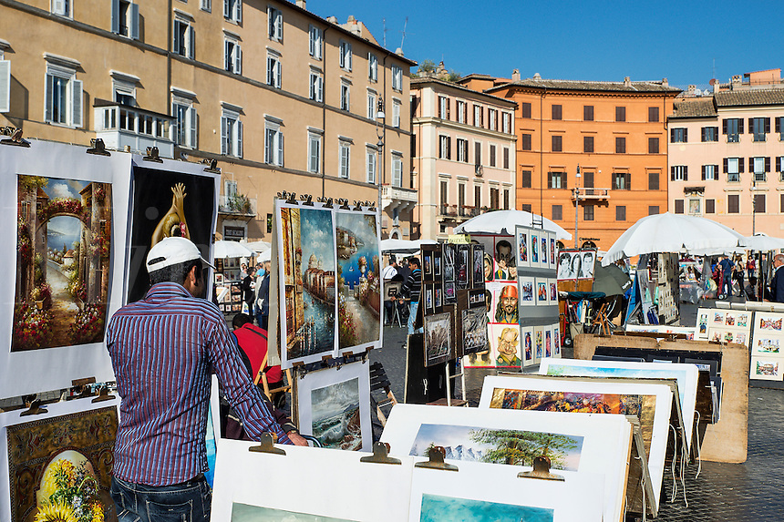 Art vendors, Piazza Navona, Rome, Italy