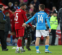 27th November 2019; Anfield, Liverpool, Merseyside, England; UEFA Champions League Football, Liverpool versus SSC Napoli ; Georginio Wijnaldum of Liverpool speaks with Dries Mertens of SSC Napoli as they leave the field after the match - Editorial Use