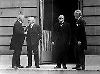 Council of Four of the Peace Conference.  Mr. Lloyd George; Signor Orlando; M. Clemenceau; President Woodrow Wilson.  Hotel Crillon, Paris, France.  May 27, 1919.  Capt. Jackson.  (Army)<br />