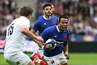 2nd February 2020, Stade de France, Paris; France, 6-Nations International rugby union, France versus England;  Teddy Thomas (France) runs into contact with Englands George Furbank