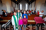 Pictured at a Service of Thanksgiving and a Blessing of the renovated St Michaels & all Angles Church in Waterville on Sunday were front l-r; Maeve & Maddie Courtney, back l-r; Fr. Gerard Finucane, Rev. Brian Rodgers & Rev. Michael Kavanagh.