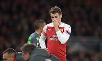 Aaron Ramsey of Arsenal reaction as Danny Welbeck of Arsenal sits injured during the UEFA Europa League group match between Arsenal and Sporting Clube de Portugal at the Emirates Stadium, London, England on 8 November 2018. Photo by Andrew Aleks / PRiME Media Images.<br /> .<br /> (Photograph May Only Be Used For Newspaper And/Or Magazine Editorial Purposes. www.football-dataco.com)
