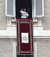 Papa Francesco recita l'Angelus domenicale affacciato su piazza San Pietro dalla finestra del suo studio. Citta' del Vaticano, 13 gennaio, 2019.<br /> Pope Francis recites the Sunday Angelus noon prayer from the window of his studio overlooking St. Peter's Square, at the Vatican, on 13 gennaio, 2019.<br /> UPDATE IMAGES PRESS/IsabellaBonotto<br /> <br /> STRICTLY ONLY FOR EDITORIAL USE