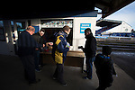 Fans buying match day programmes inside the ground before the Montrose versus Edinburgh City SPFL League 2 fixture. It was Edinburgh City's first Scottish League visit to Montrose since the club were promoted from the Lowland League the previous season. City won the match 1-0 to record their first league win of the season, captain Dougie Gair scoring the winner from the penalty spot in the 68th minute in a match watched by 388 spectators.