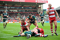 Nick Malouf of Leicester Tigers scores a try in the first half. Aviva Premiership match, between Leicester Tigers and Gloucester Rugby on September 16, 2017 at Welford Road in Leicester, England. Photo by: Patrick Khachfe / JMP