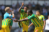 Kyle Bartley of West Bromwich Albion and Romaine Sawyers of West Bromwich Albion gesture to the Referee Gavin Ward during Derby County vs West Bromwich Albion, Sky Bet EFL Championship Football at Pride Park Stadium on 24th August 2019