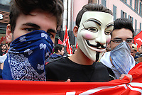 Milano 1 may 2015<br /> Demonstration against EXPO 2015.<br /> Young protester with Anonymous mask.<br /> Photo Livio Senigalliesi