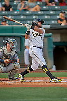 Jose Rojas (8) of the Salt Lake Bees at bat against the New Orleans Baby Cakes at Smith's Ballpark on August 4, 2019 in Salt Lake City, Utah. The Baby Cakes defeated the Bees 8-2. (Stephen Smith/Four Seam Images)