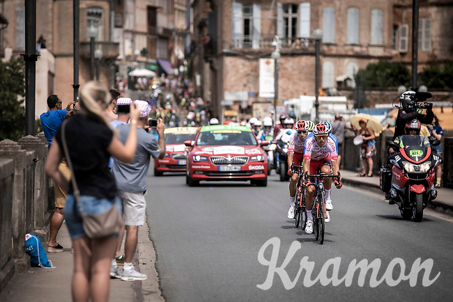 breakaway  group riding through Gaillac. <br /> <br /> Stage 11: Albi to Toulouse (167km)<br /> 106th Tour de France 2019 (2.UWT)<br /> <br /> ©kramon