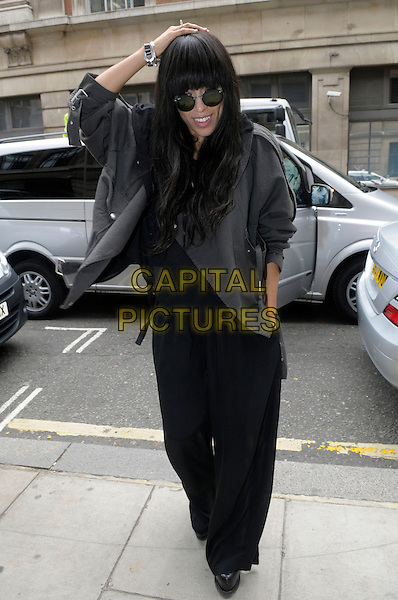 Loreen (Lorine Zineb Noka Talhaoui) Eurovision song contest winner 2012  arriving at BBC Radio 2, London, England..May 31st, 2012.full length black to trousers grey gray jacket sunglasses shades hand on heads.CAP/IA.©Ian Allis/Capital Pictures.