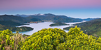 Pastel colours of twilight over Kenepuru Sound in Marlborough Sounds, Nelson Region, Marlborough, South Island, New Zealand