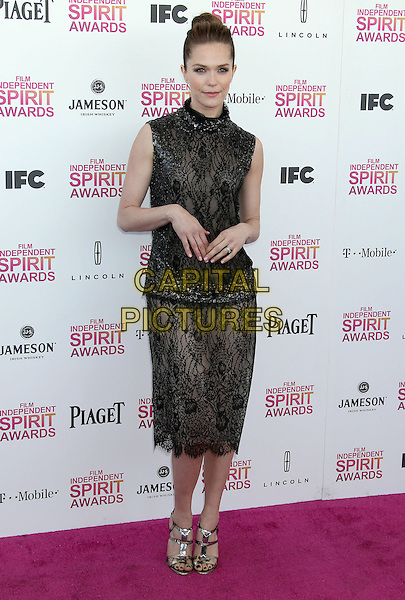 Katie Aselton.2013 Film Independent Spirit Awards - Arrivals Held At Santa Monica Beach, Santa Monica, California, USA,.23rd February 2013..indy indie indies indys full length dress black high neck hair up bun beaded lace strappy sandals .CAP/ADM/RE.©Russ Elliot/AdMedia/Capital Pictures