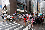 Hiroshima Carp baseball team fans line up outside Hiroshima Brand Shop TAU in Ginza on September 11, 2016, Tokyo, Japan. Hundreds of Carps fans lined up from early morning outside Hiroshima Brand Shop TAU to buy victory t-shirts after Hiroshima baseball team got its first Central League title in 25 years after beating the Yomiuri Giants 6-4 on Saturday, September 10. (Photo by Rodrigo Reyes Marin/AFLO)