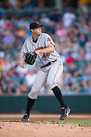 Indianapolis Indians starting pitcher Clay Holmes (46) in action against the Charlotte Knights at BB&T BallPark on June 16, 2017 in Charlotte, North Carolina.  The Knights defeated the Indians 12-4.  (Brian Westerholt/Four Seam Images)