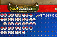 A swimming board keeps track of who is in the water at Camp Raven Knob Scout Reservation, one of the largest Boy Scout camps in the United States, is located within Boy Scouts of America's Old Hickory Council in Mt. Airy, North Carolina. Troops from across the US attend the camp's one-week residential boys' summer programs, which offer instruction on more than 40 merit badges, adventure programs and new Scout orientation.