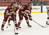 Andie Anastos (BC - 23), Makenna Newkirk (BC - 19), Grace Bizal (BC - 2) - The visiting Boston College Eagles defeated the Harvard University Crimson 2-0 on Tuesday, January 19, 2016, at Bright-Landry Hockey Center in Boston, Massachusetts.