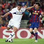 Football - FC Barcelona v Inter Milan UEFA Champions League Semi Final Second Leg - Camp Nou Stadium, Barcelona, Spain - 28/4/10 Inter Milan's Lucio and  Lionel Messi of Barcelona