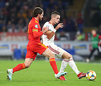 19th November 2019; Cardiff City Stadium, Cardiff, Glamorgan, Wales; European Championships 2020 Qualifiers, Wales versus Hungary; Joe Allen of Wales pressures Zsolt Nagy of Hungary forcing the pass - Editorial Use
