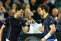 Jamie Murray (GB), MARCH 05, 2016 - Tennis : Jamie Murray (GB) and brother Andy Murray (GB) during the Davis Cup by PNB Paribas , World Group first round doubles match between Great Britain and Japan at The Barclaycard Arena, Birmingham, United Kingdom. (Photo by Rob Munro/AFLO)