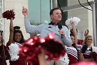 NWA Democrat-Gazette/ANDY SHUPE<br /> Arkansas football coach Chad Morris speaks to the crowd Saturday, April 6, 2019, during the annual HogFest fan celebration prior to the Razorbacks' spring game in Razorback Stadium in Fayetteville. Visit nwadg.com/photos to see more photographs from the game.