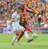 20190803 - LENS , FRANCE : Lens' Steven Fortes (R) and Guingamp's Nolan Roux (L) pictured during the soccer match between Racing Club de LENS and En Avant Guingamp , on the second matchday in the French Dominos pizza Ligue 2 at the Stade Bollaert Delelis stadium , Lens . Saturday 3 th August 2019 . PHOTO DIRK VUYLSTEKE | SPORTPIX.BE