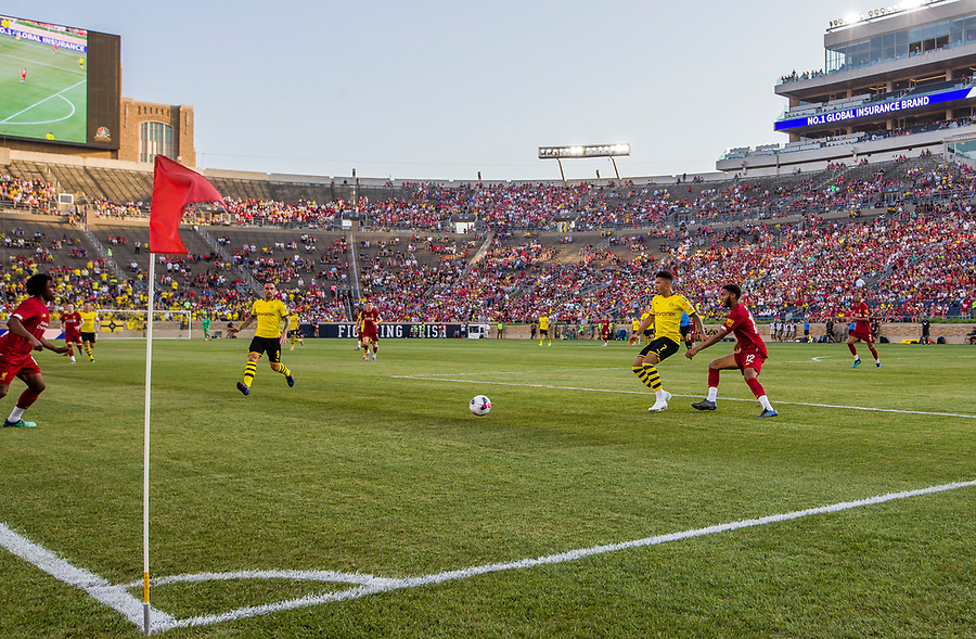 July 19, 2019; Liverpool Football Club hosts Borussia Dortmund for the first-ever international soccer friendly match at Notre Dame Stadium. (Photo by Robert Franklin/University Notre Dame)