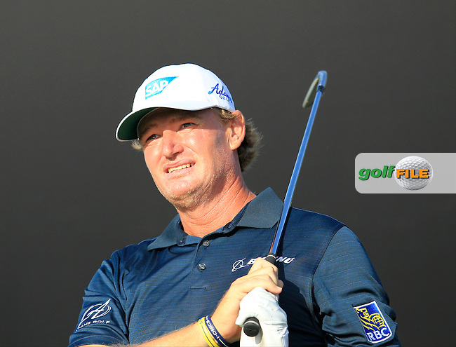 Ernie Els (RSA) tees off the par3 15th tee during Thursday's Round 1 of the Omega Dubai Desert Classic 2014 held at the Emirates Golf Club, Dubai. 30th January 2014.<br /> Picture: Eoin Clarke www.golffile.ie