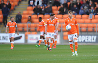 Blackpool's Chris Long looks dejected after Gillingham's Brandon Hanlan (not in picture) scores the opening goal <br /> <br /> Photographer Kevin Barnes/CameraSport<br /> <br /> The EFL Sky Bet League One - Blackpool v Gillingham - Saturday 4th May 2019 - Bloomfield Road - Blackpool<br /> <br /> World Copyright © 2019 CameraSport. All rights reserved. 43 Linden Ave. Countesthorpe. Leicester. England. LE8 5PG - Tel: +44 (0) 116 277 4147 - admin@camerasport.com - www.camerasport.com