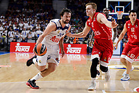 Real Madrid's Sergio Llull and Crvena Zvezda Mts Belgrade's Nate Wolters during Turkish Airlines Euroleague match between Real Madrid and Crvena Zvezda Mts Belgrade at Wizink Center in Madrid, Spain. March 10, 2017. (ALTERPHOTOS/BorjaB.Hojas) /NortePhoto.com