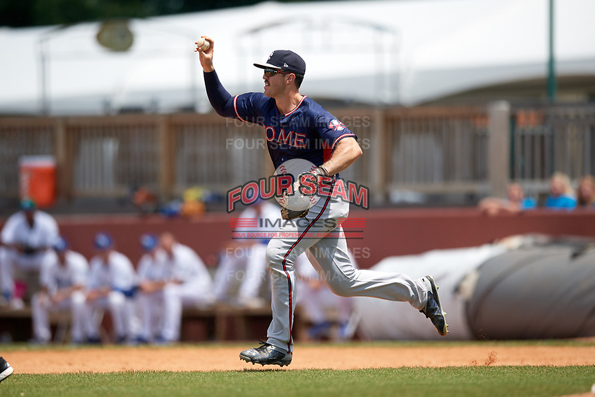Rome Braves first baseman Austin Bush (48) chases a runner in a rundown during a game against the Lexington Legends on May 23, 2018 at Whitaker Bank Ballpark in Lexington, Kentucky.  Rome defeated Lexington 4-1.  (Mike Janes/Four Seam Images)