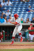 Palm Beach Cardinals second baseman Luke Dykstra (32) at bat during a game against the Clearwater Threshers on April 14, 2017 at Spectrum Field in Clearwater, Florida.  Clearwater defeated Palm Beach 6-2.  (Mike Janes/Four Seam Images)