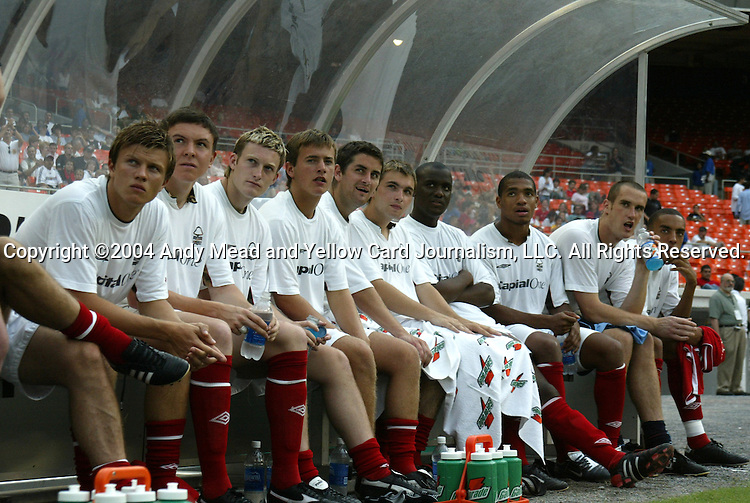 14 July 2004: Forest's substitute bench. DC United defeated Nottingham Forest of England First Division 4-3 on penalties after the teams played to a 1-1 draw at RFK Stadium in Washington, DC during an international exhibition match..