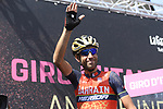 Yesterday's stage winner Vincenzo Nibali (ITA) Bahrain-Merida at sign on before the start of Stage 17 of the 100th edition of the Giro d'Italia 2017, running 219km from Tirano to Canazei, Italy. 24th May 2017.<br /> Picture: LaPresse/Fabio Ferrari | Cyclefile<br /> <br /> <br /> All photos usage must carry mandatory copyright credit (&copy; Cyclefile | LaPresse/Fabio Ferrari)