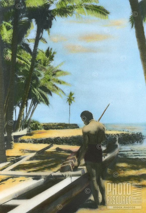 Handtinted image of Hawaiian man near outrigger canoe at Puuhonua honaunau, known also as City of refuge.