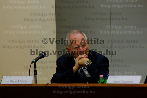 Wolfgang Schaeuble Finance Minister for Germany delivers his speech before the Europe on Crossroads conference organized by Corvinus University in Budapest, Hungary on December 05, 2011. ATTILA VOLGYI