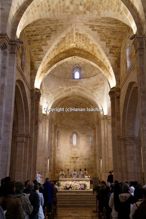 Israel, Jerusalem Old City, the Catholic feast of the Immaculate Conception at the Church of St. Anne, the  Church is a 12th-century Crusader church, built over the ruins of a Byzantine Church at the traditional site of the birthplace of Anne, the mother of Mary.