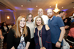 Waterbury, CT- 20 April 2017-042017CM13-  From left, team members from Carrington School, including Nicole Ragette,Marnie Ford, Jodi Sarlo, Jim Thomas with Ivan Hernandez, recipient of the Inspiring Educator award (back center)  are photographed during The Rivera Memorial Foundation 17th annual scholarship awards banquet on Thursday, April 20th at La Bella Vista in Waterbury.   Christopher Massa Republican-American