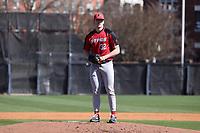 GREENSBORO, NC - FEBRUARY 22: Trey McLoughlin #32 of Fairfield University waits on the mound during a game between Fairfield and UNC Greensboro at UNCG Baseball Stadium on February 22, 2020 in Greensboro, North Carolina.
