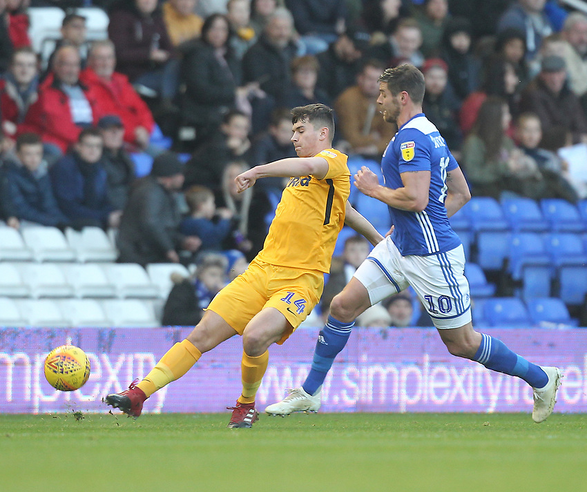 Preston North End's Jordan Storey in action with Birmingham City's Lukas Jutkiewicz<br /> <br /> Photographer Mick Walker/CameraSport<br /> <br /> The EFL Sky Bet Championship - Birmingham City v Preston North End - Saturday 1st December 2018 - St Andrew's - Birmingham<br /> <br /> World Copyright © 2018 CameraSport. All rights reserved. 43 Linden Ave. Countesthorpe. Leicester. England. LE8 5PG - Tel: +44 (0) 116 277 4147 - admin@camerasport.com - www.camerasport.com
