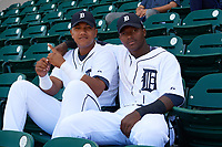 Detroit Tigers Darwin Alvarado (left) and Alexis Garcia (right) in the stands before an Instructional League game against the Toronto Blue Jays on October 12, 2017 at Joker Marchant Stadium in Lakeland, Florida.  (Mike Janes/Four Seam Images)