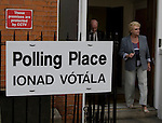 Editorial Use Only: ..On June 12th 2008, Voters leave a polling station on Dublin's North Circular Road having voted on the controversial Lisbon Treaty referendum...